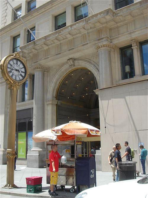 Pedestrain park clock & building