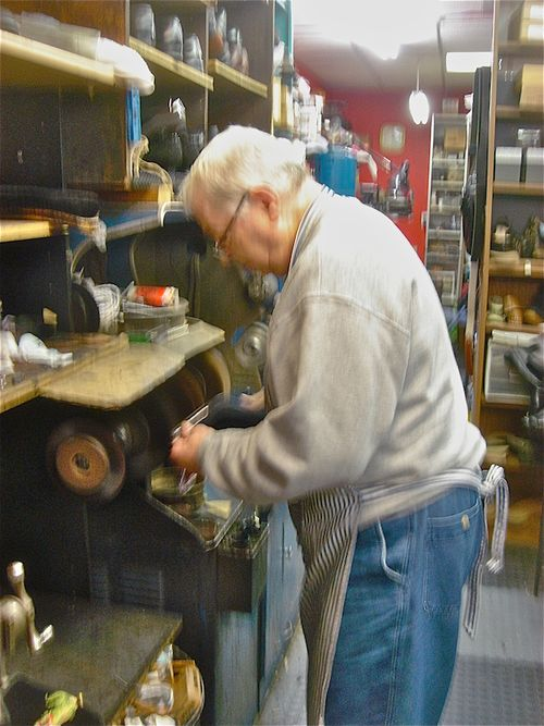 James shoemaket at buffing wheel