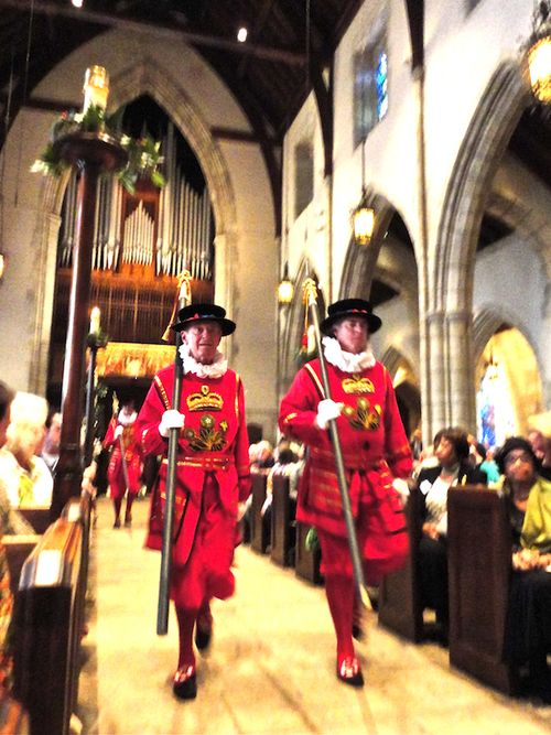 Beefeaters walking aisle closeup 2