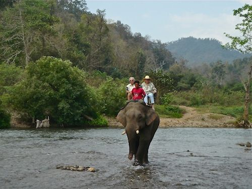 Thailand Elephant ride together
