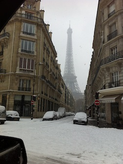 PARIS EIFEL TOWER THROUGH BUILDINGS
