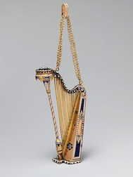Gold harp music box